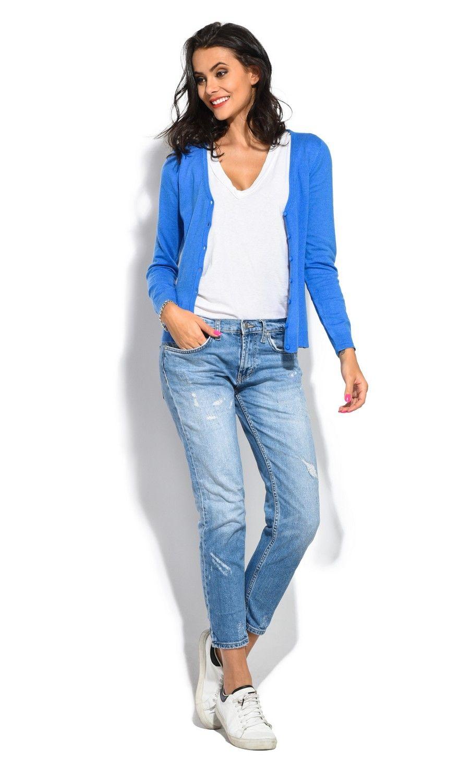 William De Faye V-Neck Long Sleeve Buttoned Cardigan in Blue