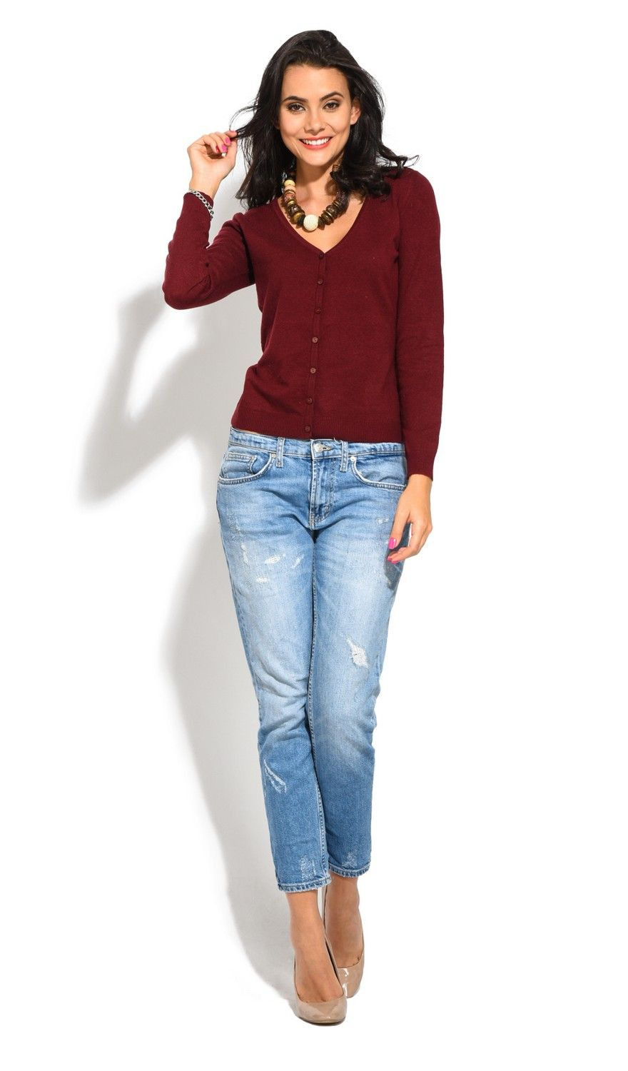William De Faye V-Neck Long Sleeve Buttoned Cardigan in Maroon