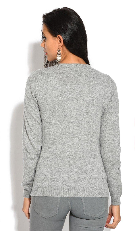 William De Faye V-Neck Long Sleeve Buttoned Cardigan in Grey