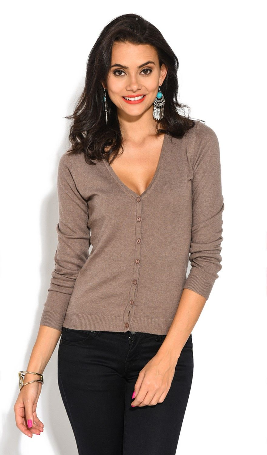 William De Faye V-Neck Long Sleeve Buttoned Cardigan in Taupe
