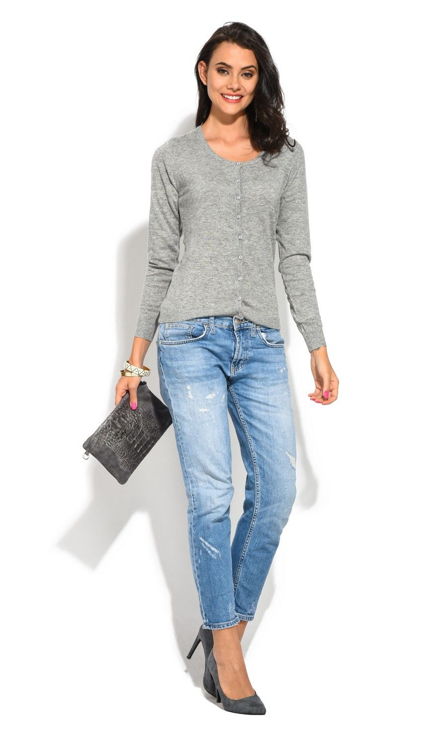 William De Faye Round Neck Long Sleeve Buttoned Cardigan in Grey
