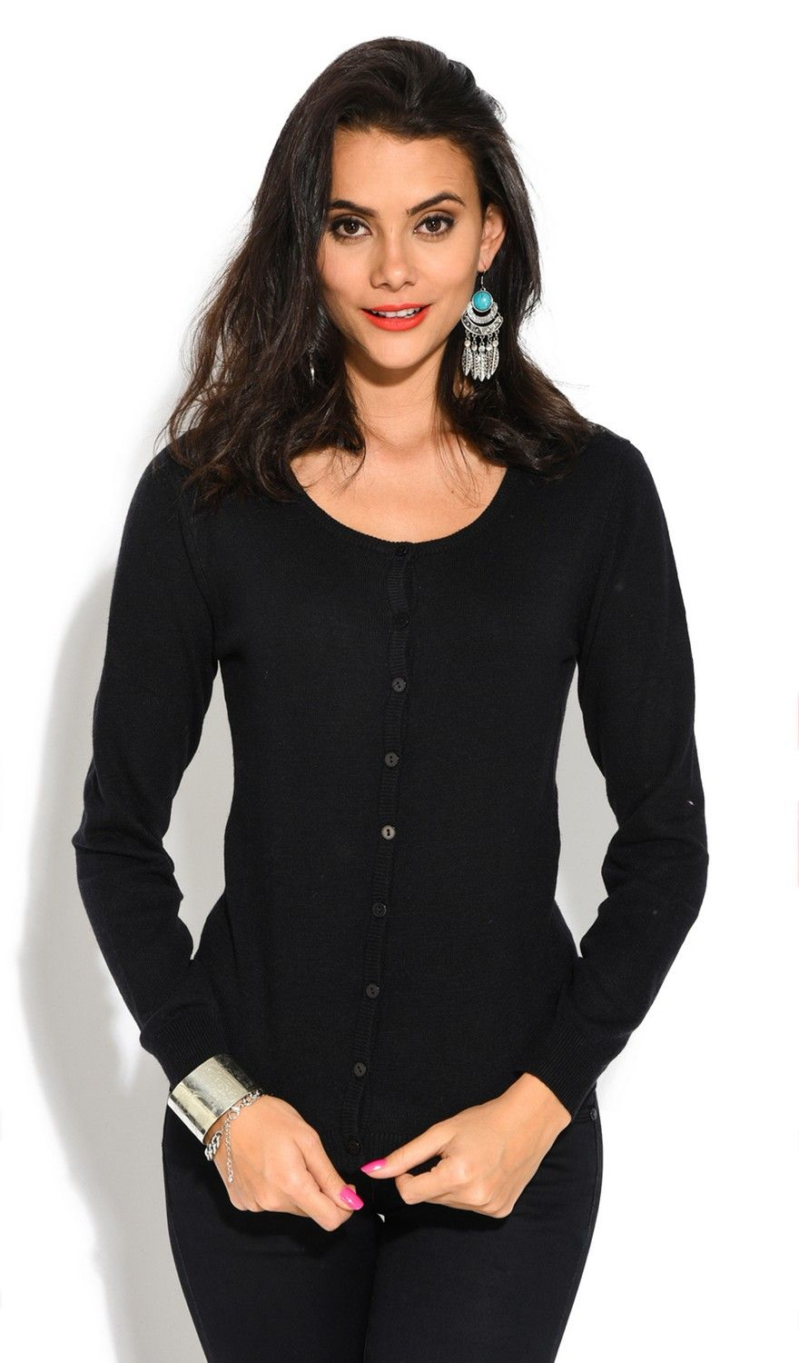 William De Faye Round Neck Long Sleeve Buttoned Cardigan in Black