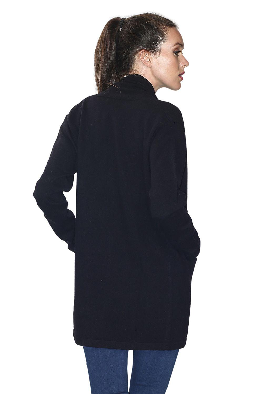 William De Faye Longline Shawl Neck Cardigan with Pockets in Black