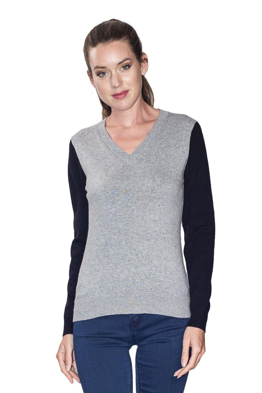 William De Faye V-neck Two-tone Sweater in Grey