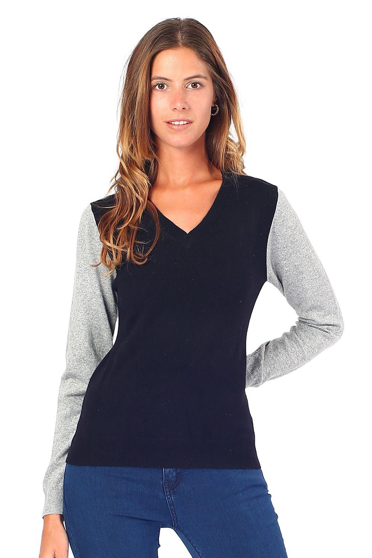 William De Faye V-neck Two-tone Sweater in Black
