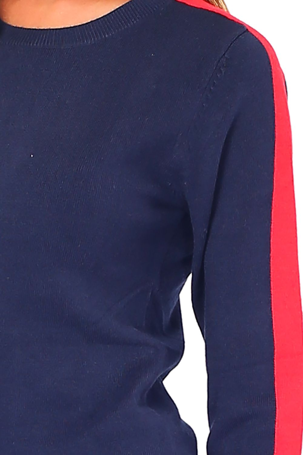 William De Faye Round Neck Sweater with Two-tone Sleeves in Navy