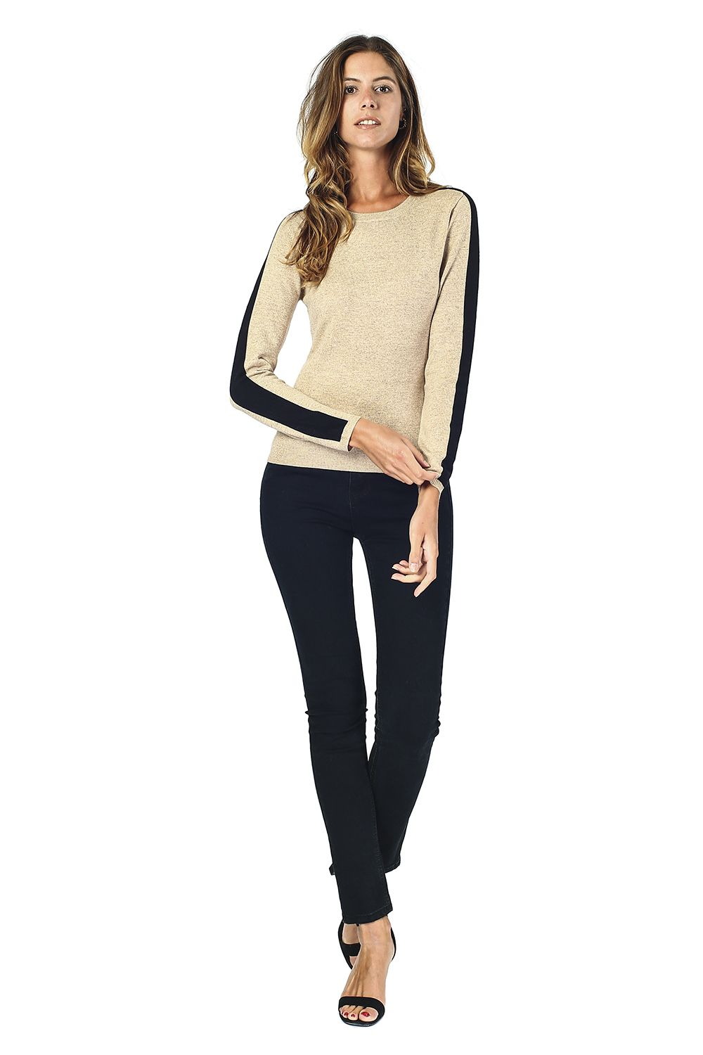 William De Faye Round Neck Sweater with Two-tone Sleeves in Beige