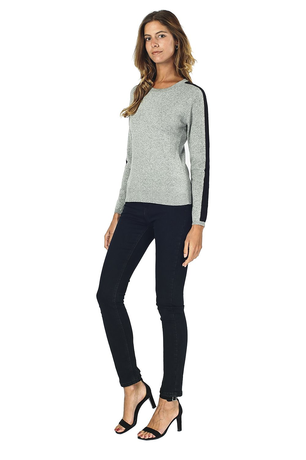 William De Faye Round Neck Sweater with Two-tone Sleeves in Grey