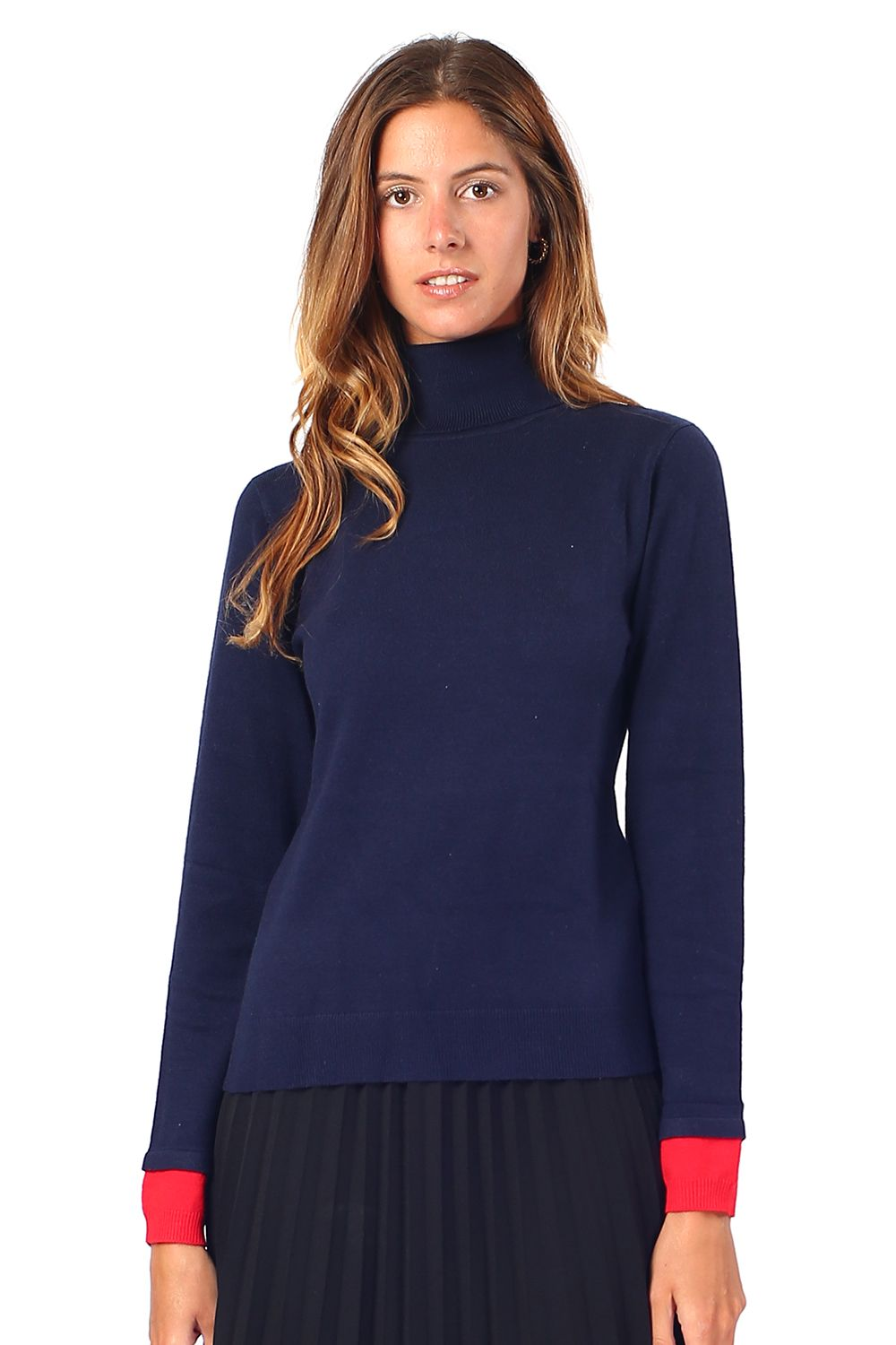 William De Faye Roll Neck Sweater with Two-tone Sleeve in Navy