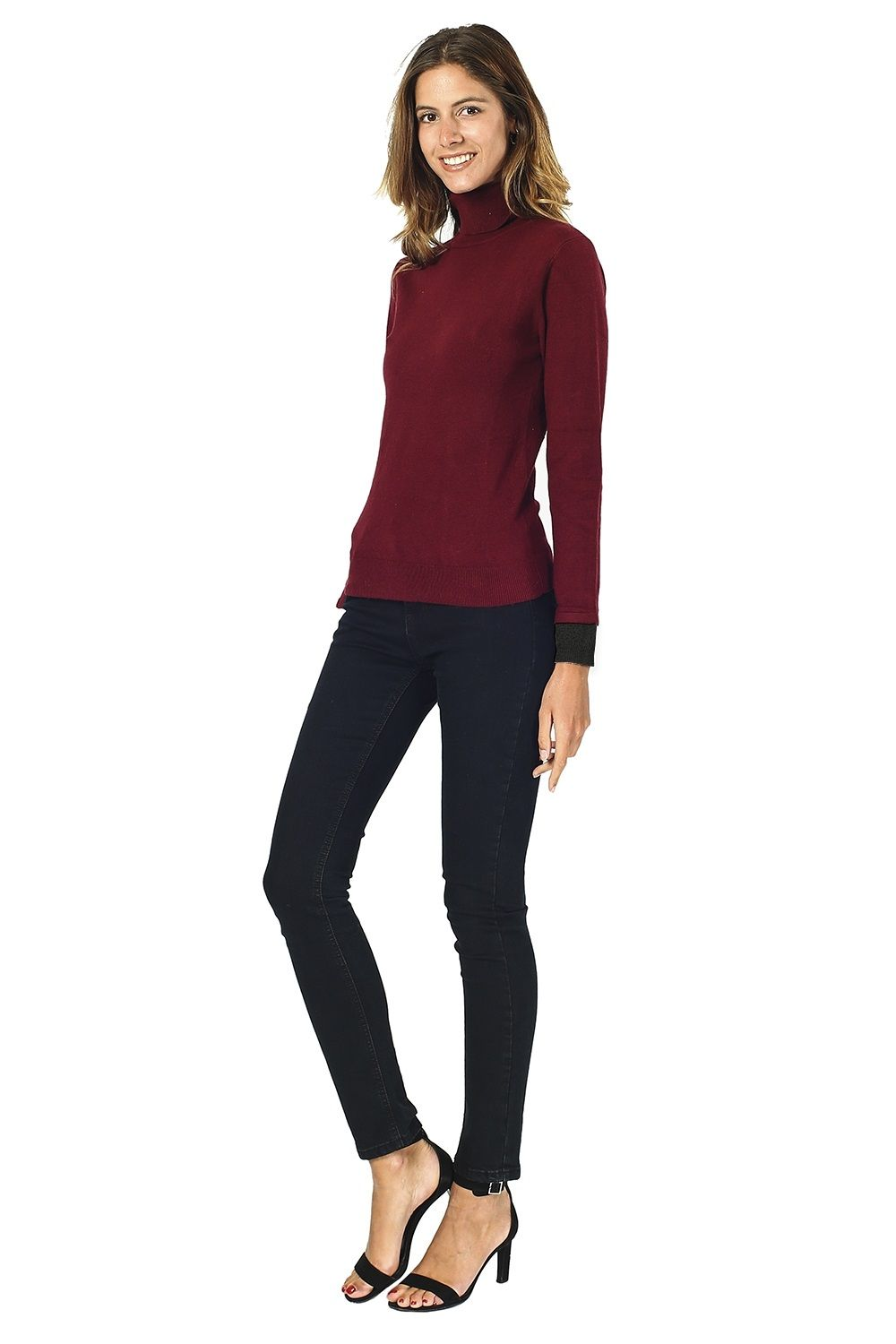 William De Faye Roll Neck Sweater with Two-tone Sleeve in Maroon
