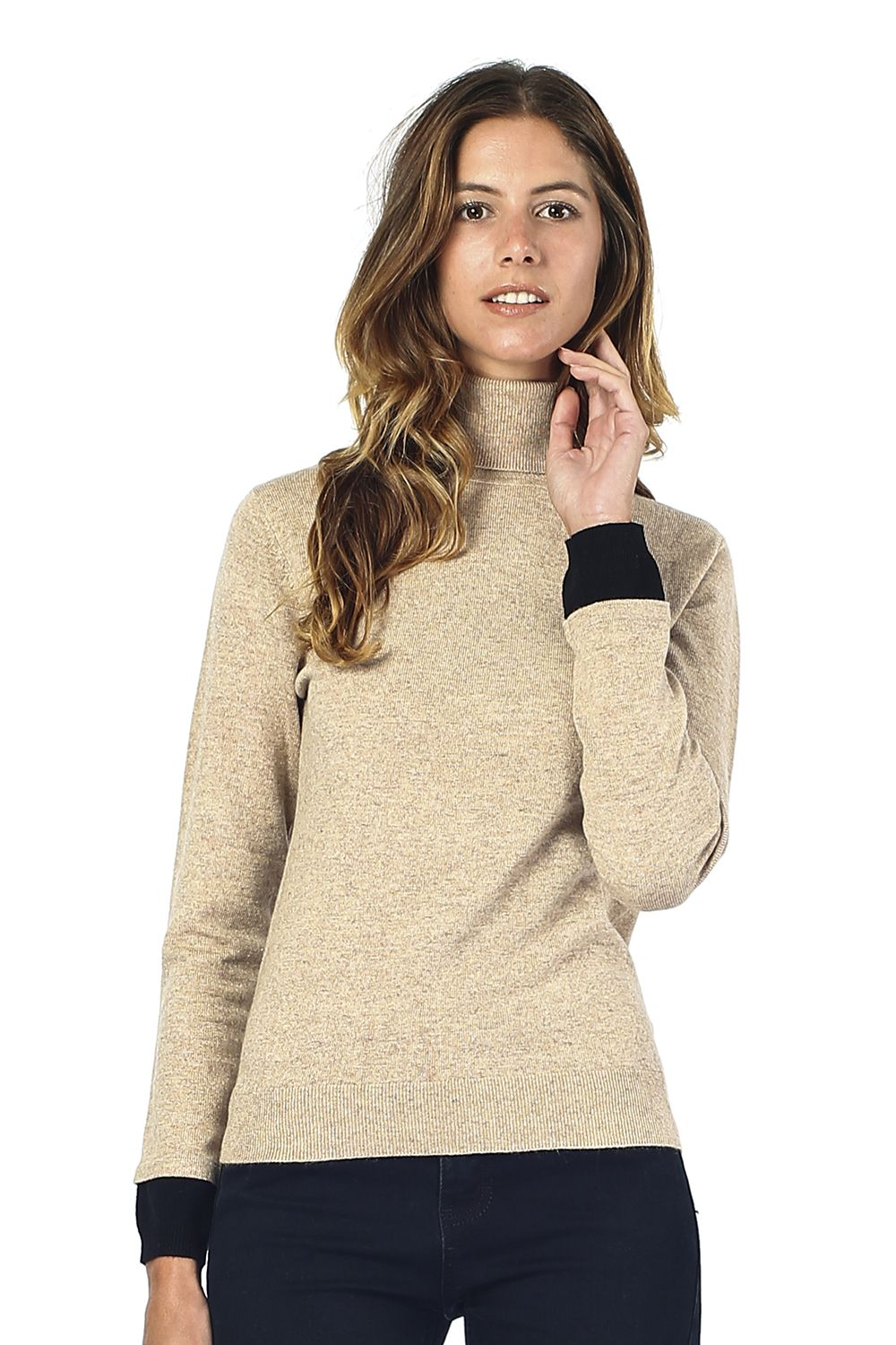 William De Faye Roll Neck Sweater with Two-tone Sleeve in Beige
