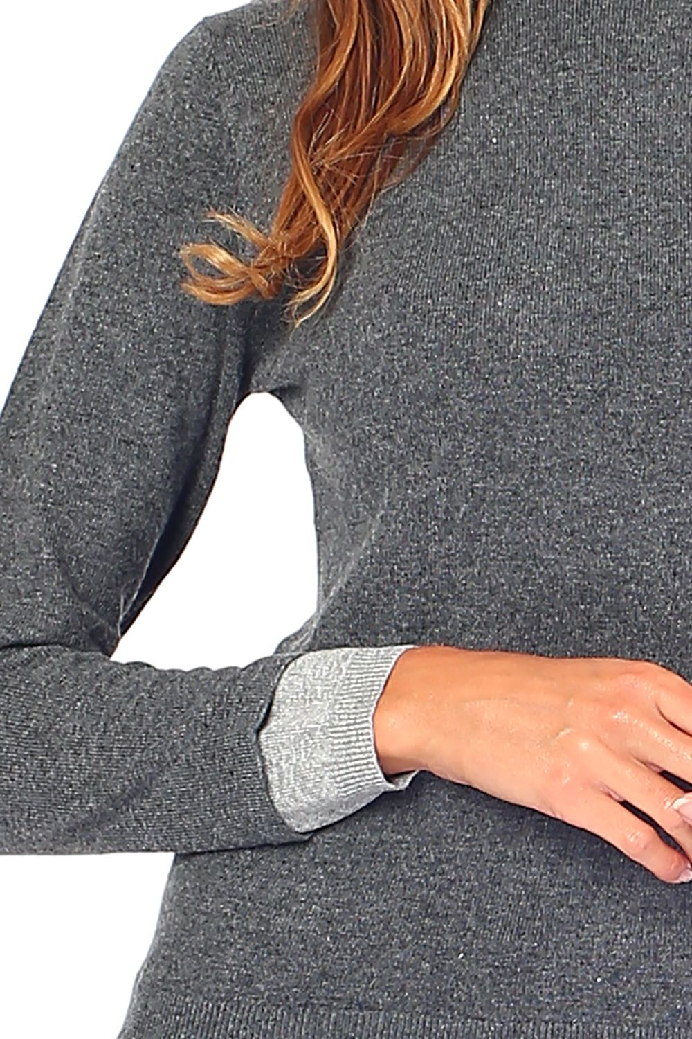William De Faye Roll Neck Sweater with Two-tone Sleeve in Grey