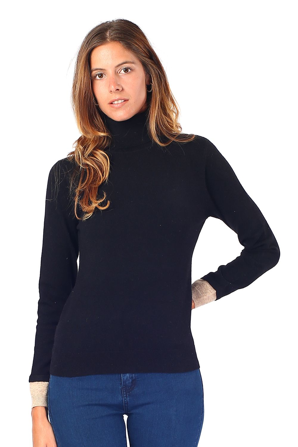 William De Faye Roll Neck Sweater with Two-tone Sleeve in Black