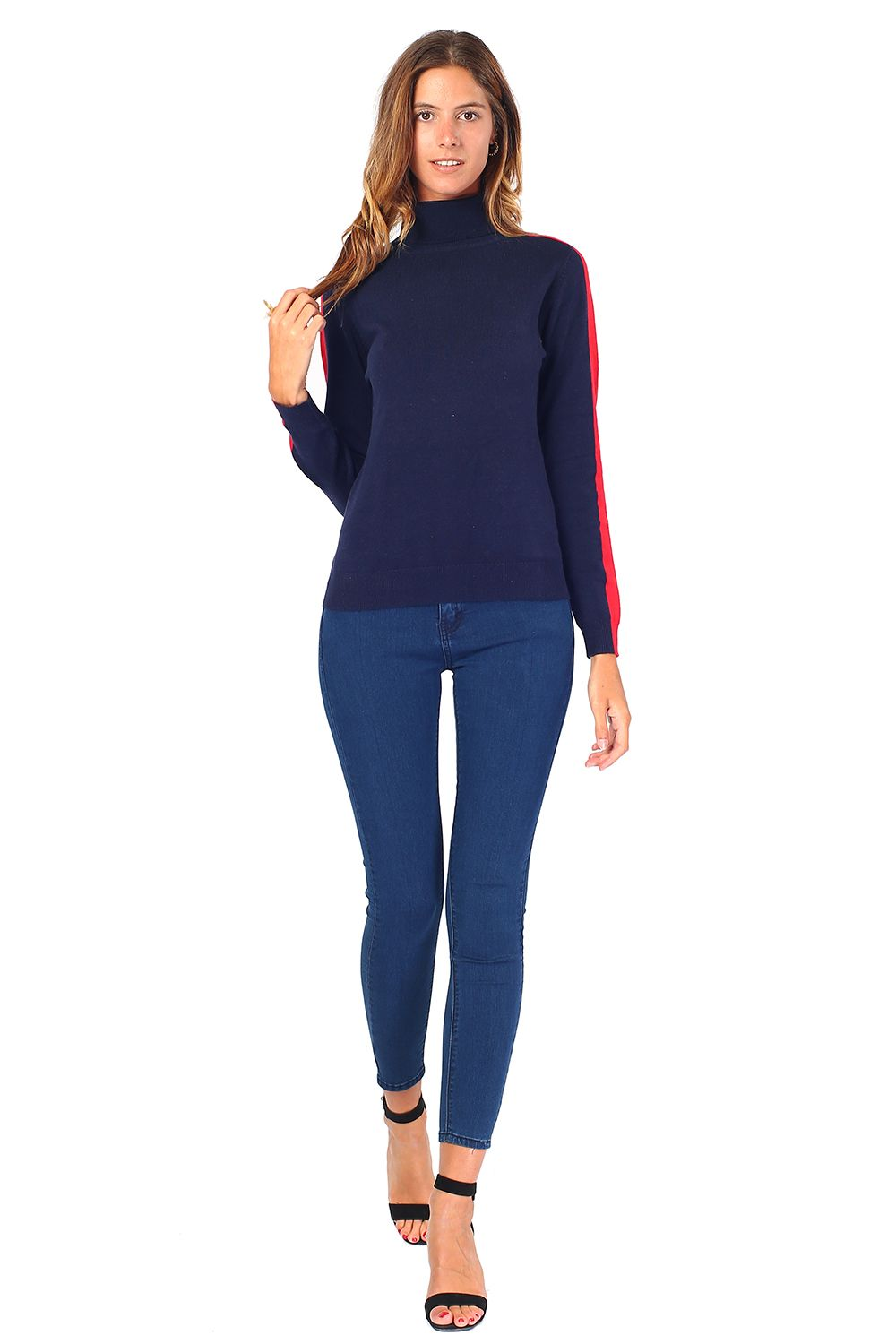 William De Faye Turtleneck Sweater with Two-tone Sleeves in Navy