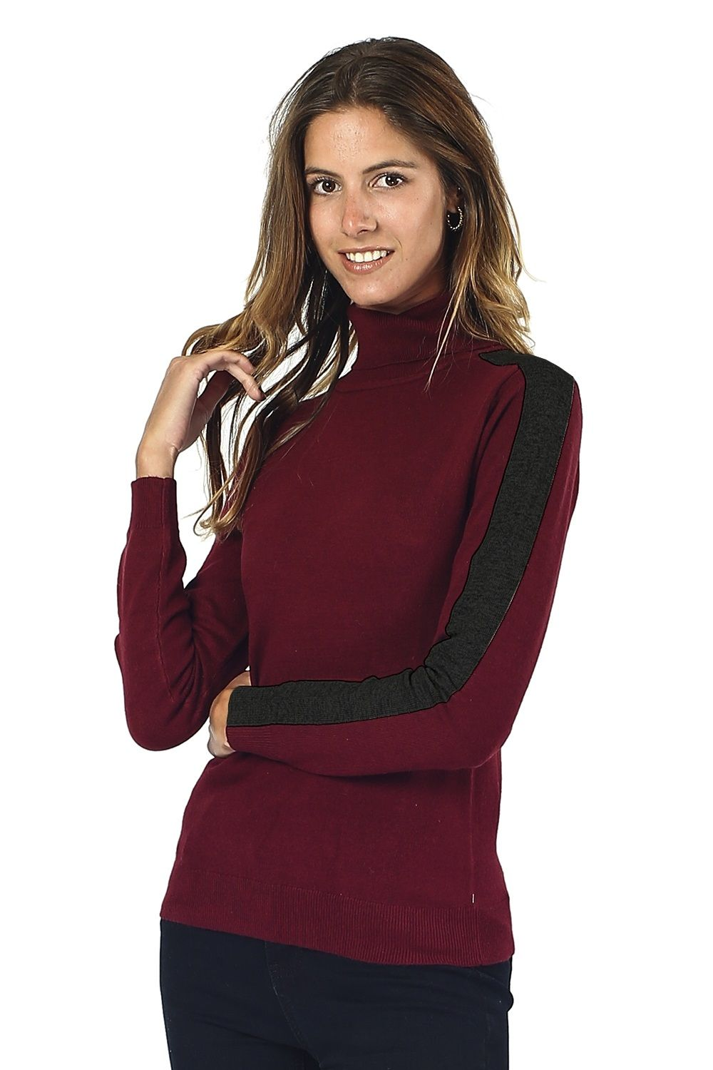 William De Faye Turtleneck Sweater with Two-tone Sleeves in Maroon