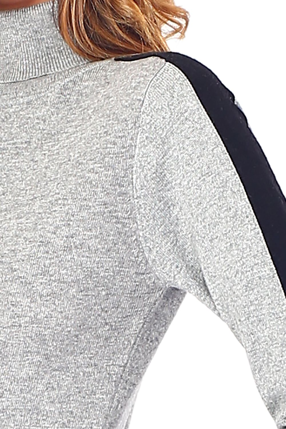 William De Faye Turtleneck Sweater with Two-tone Sleeves in Grey