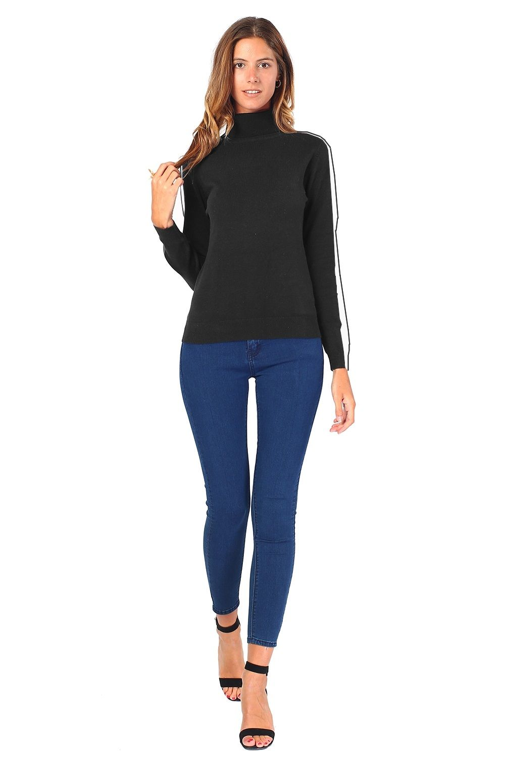 William De Faye Turtleneck Sweater with Two-tone Sleeves in Black