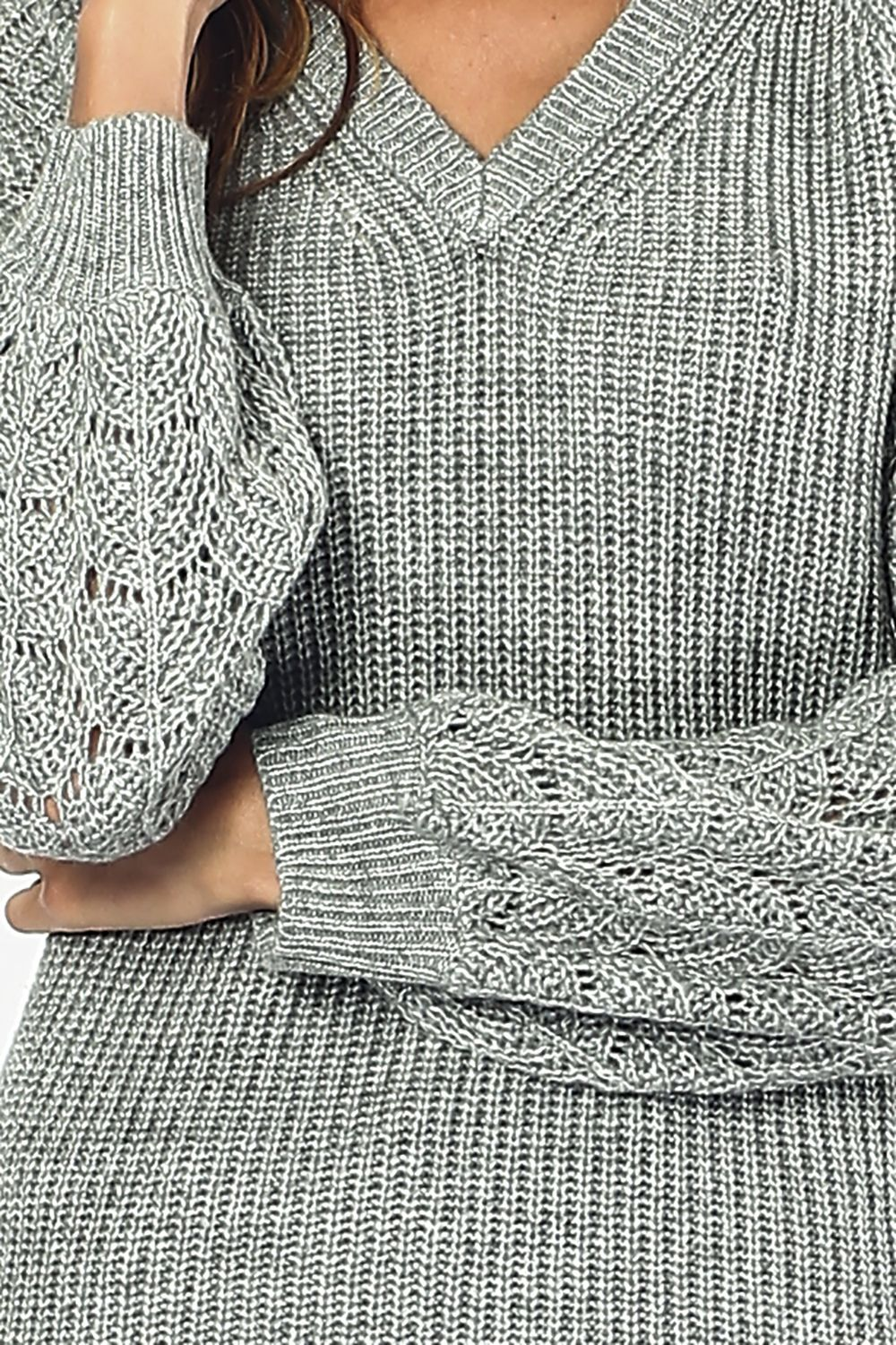 William De Faye V-neck Sweater with Open Stitch-work Sleeves in Light Grey