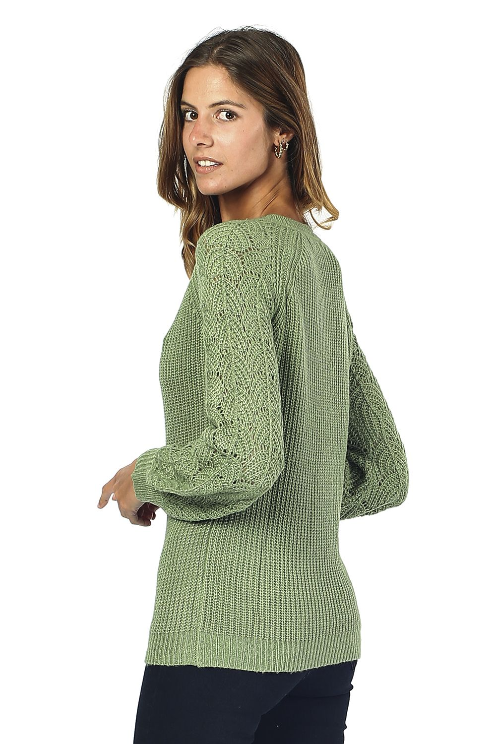 William De Faye V-neck Sweater with Open Stitch-work Sleeves in Green