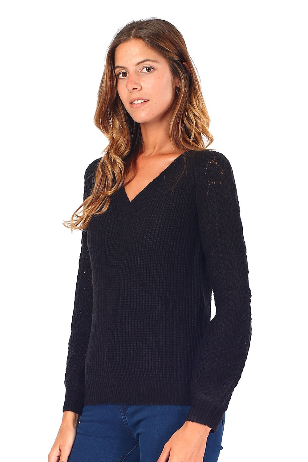 William De Faye V-neck Sweater with Open Stitch-work Sleeves in Black