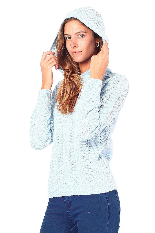 William De Faye Open Stitch-Work Hooded Sweater in Blue