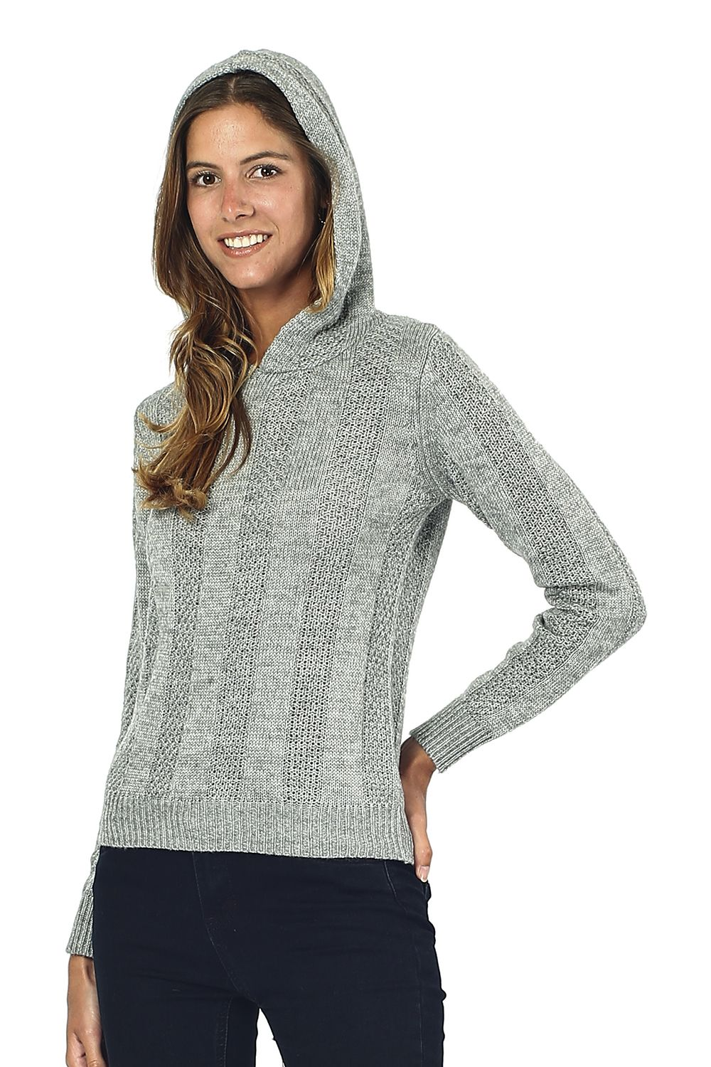 William De Faye Open Stitch-Work Hooded Sweater in Light Grey