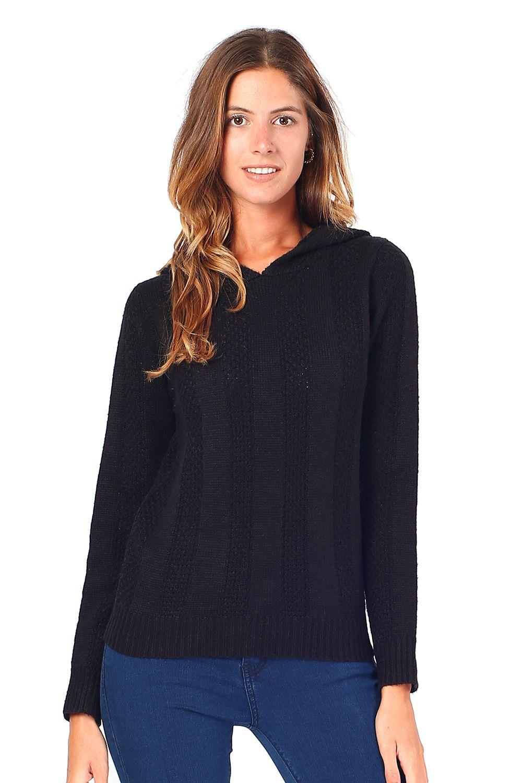 William De Faye Open Stitch-Work Hooded Sweater in Black