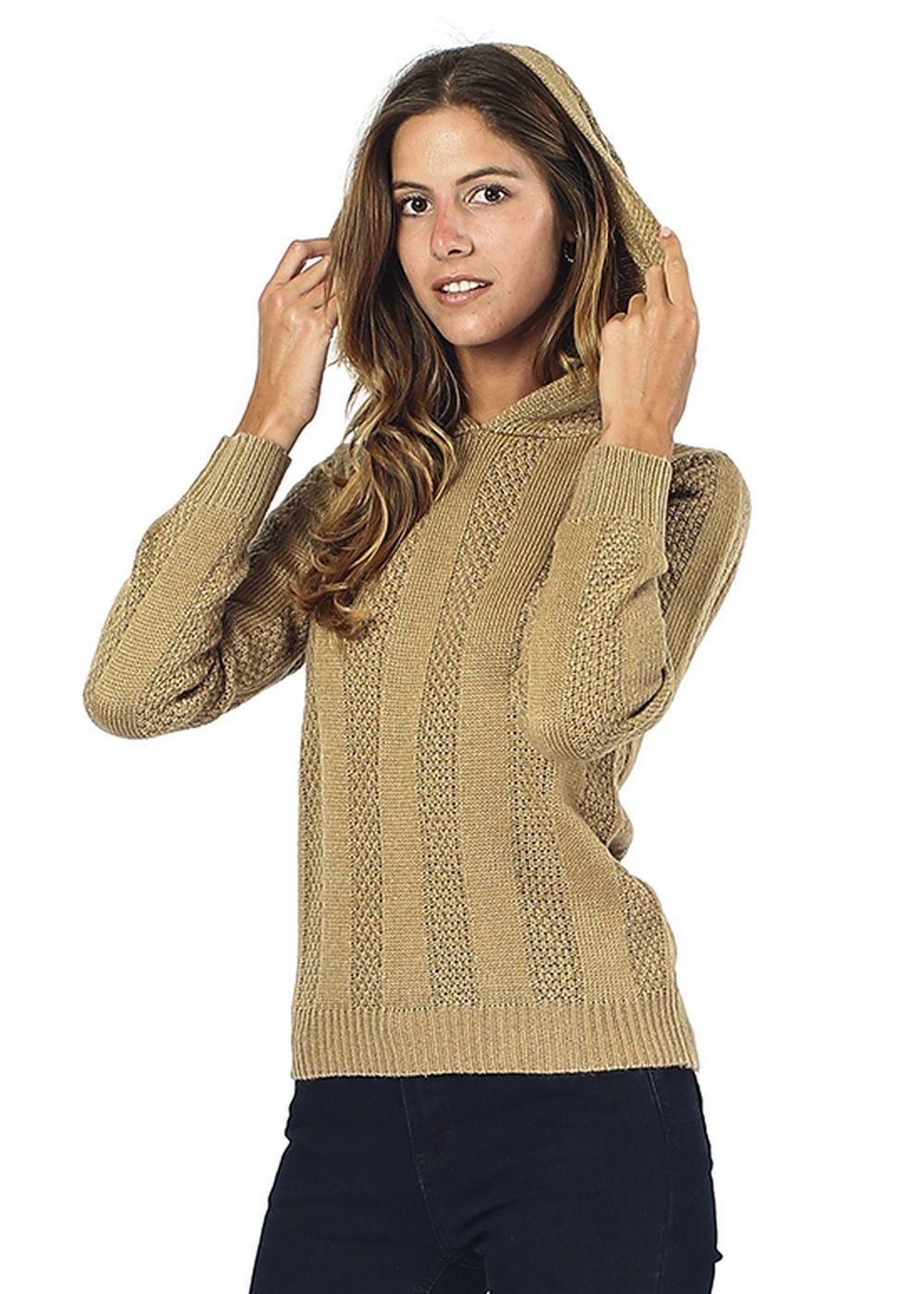 William De Faye Open Stitch-Work Hooded Sweater in Tan