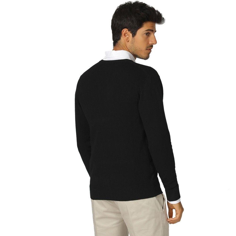 William De Faye V-neck Long Sleeve Sweater in Black