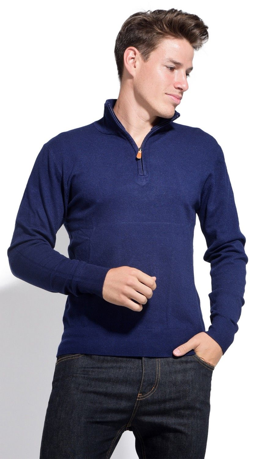 William De Faye Long Sleeve Half Zip Sweater in Navy