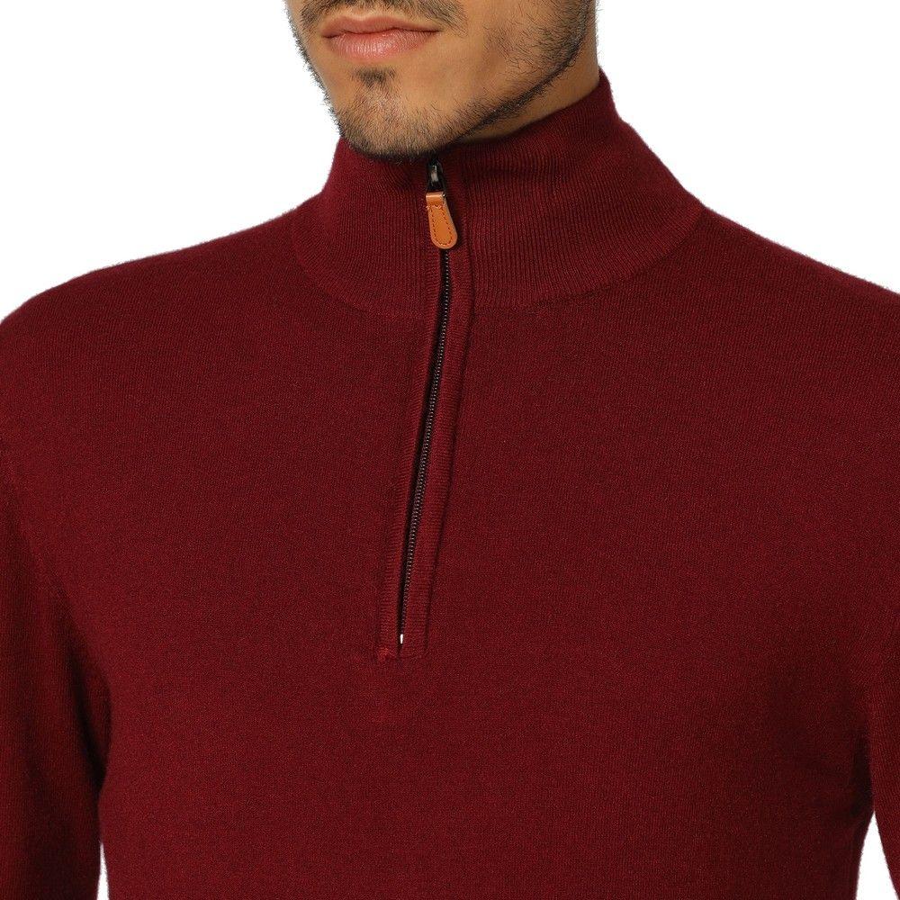 William De Faye Long Sleeve Half Zip Sweater in Maroon