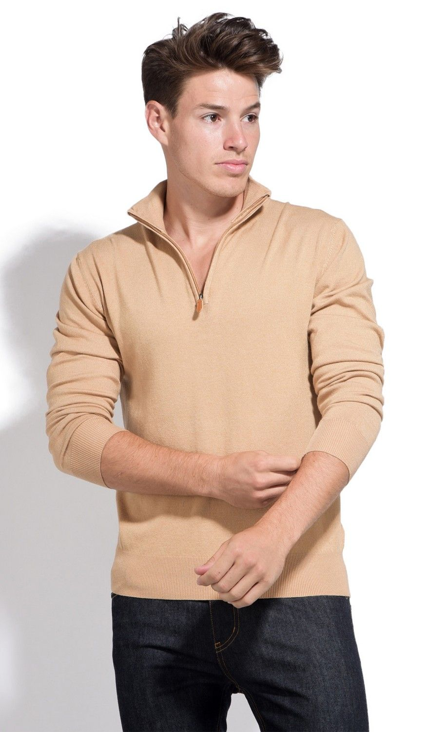 William De Faye Long Sleeve Half Zip Sweater in Beige