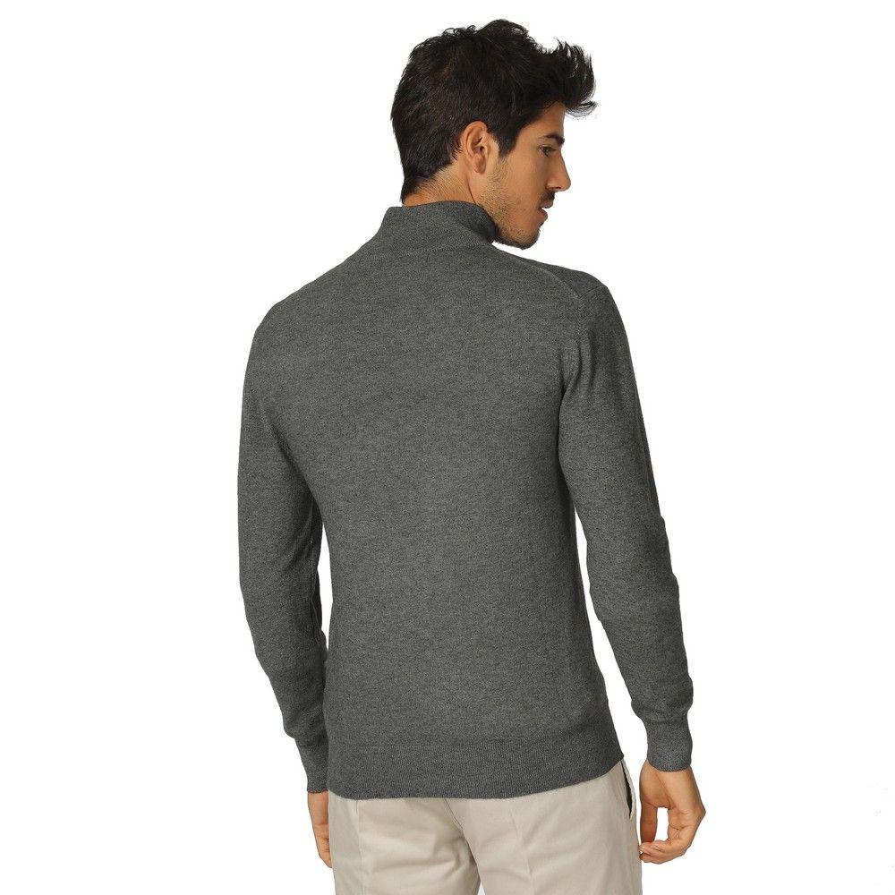 William De Faye Long Sleeve Half Zip Sweater in Grey