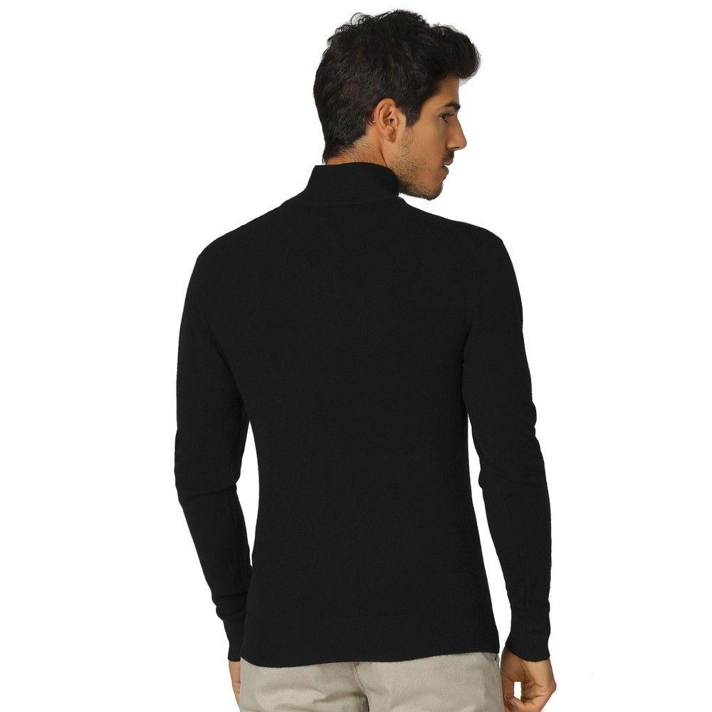William De Faye Long Sleeve Half Zip Sweater in Black