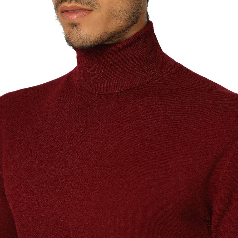 William De Faye Roll Neck Long Sleeve Sweater in Maroon