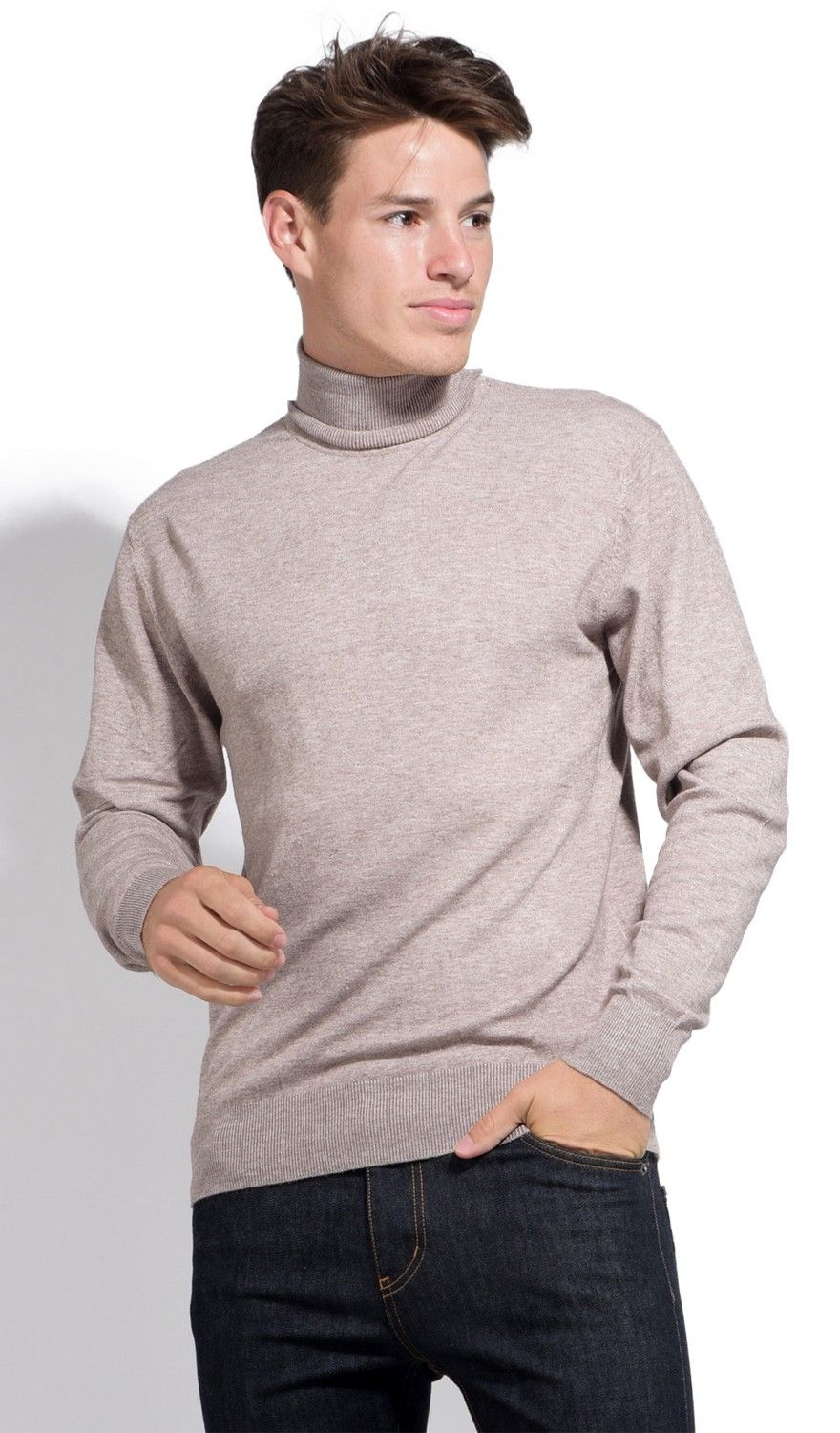 William De Faye Roll Neck Long Sleeve Sweater in Beige