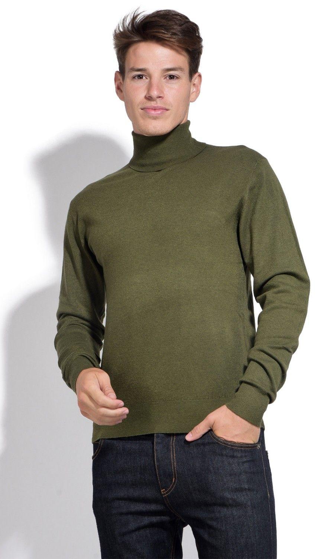William De Faye Roll Neck Long Sleeve Sweater in Khaki