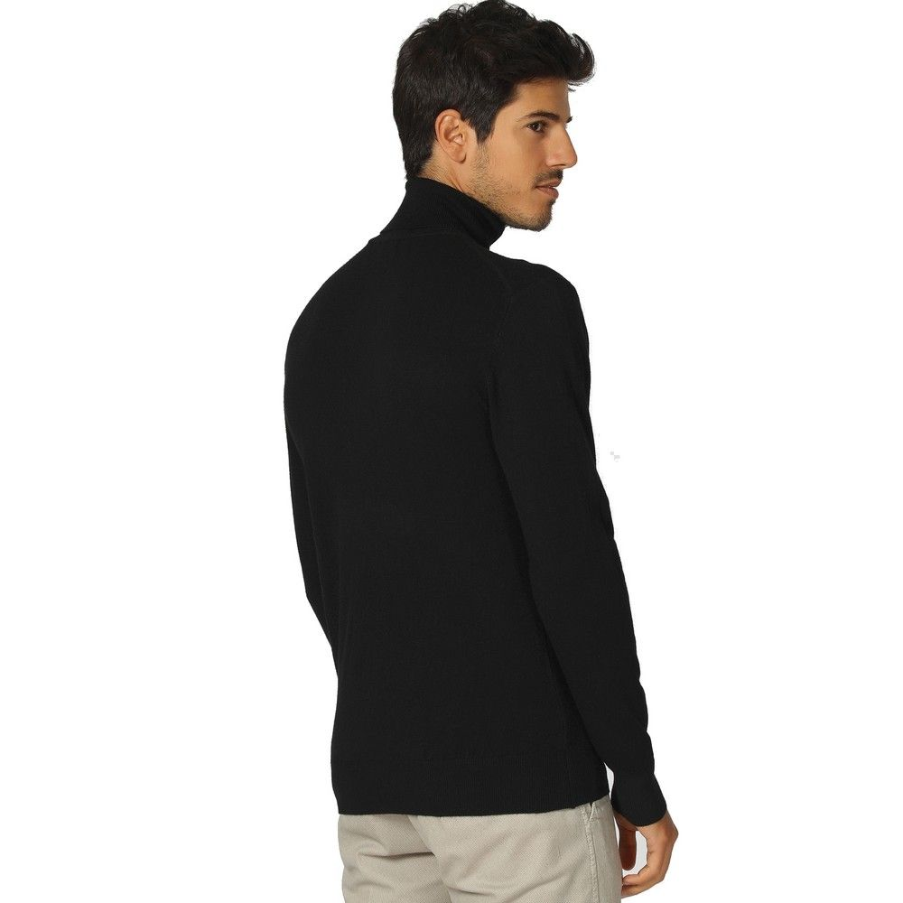 William De Faye Roll Neck Long Sleeve Sweater in Black