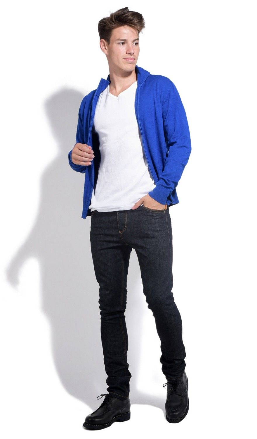 William De Faye Long Sleeve Zip Cardigan in Blue