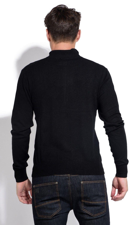 William De Faye Long Sleeve Zip Cardigan in Black