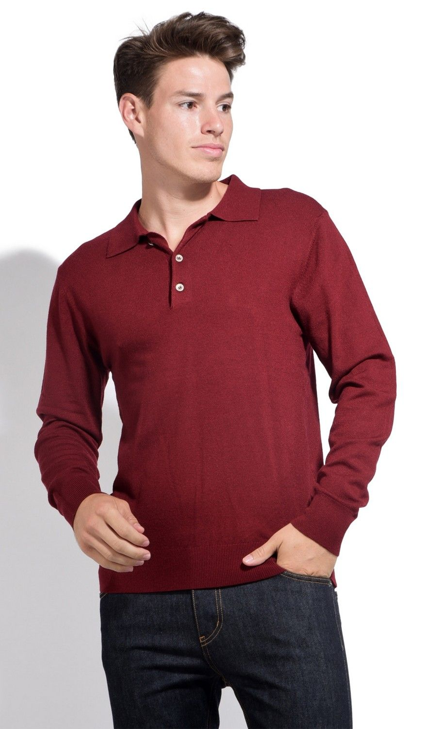 William De Faye Polo Neck Sweater with Buttons in Maroon