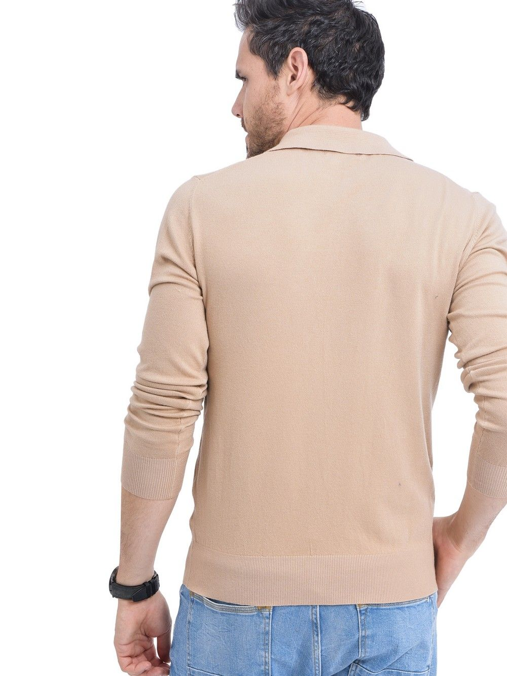 William De Faye Polo Neck Sweater with Buttons in Beige