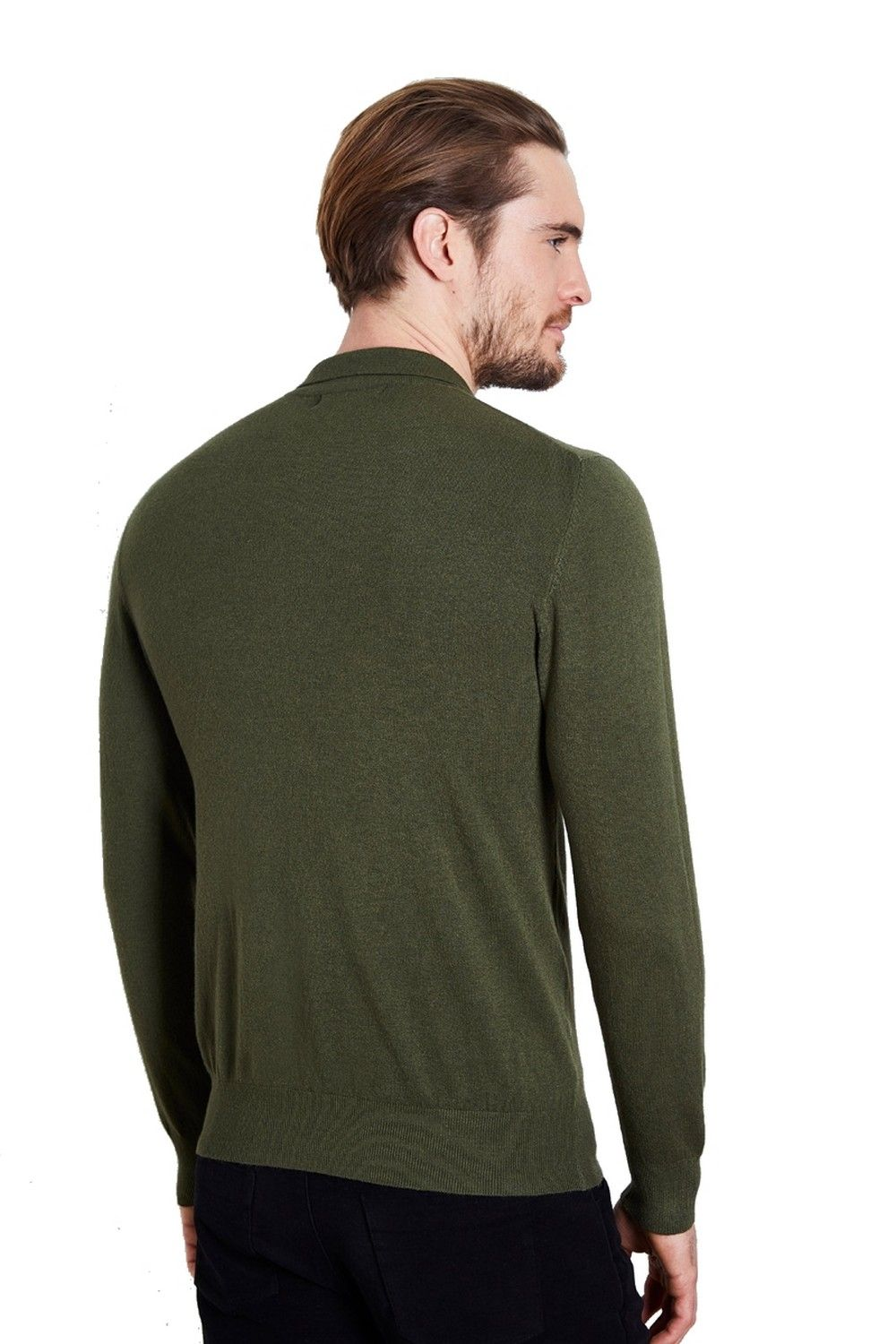 William De Faye Polo Neck Sweater with Buttons in Khaki