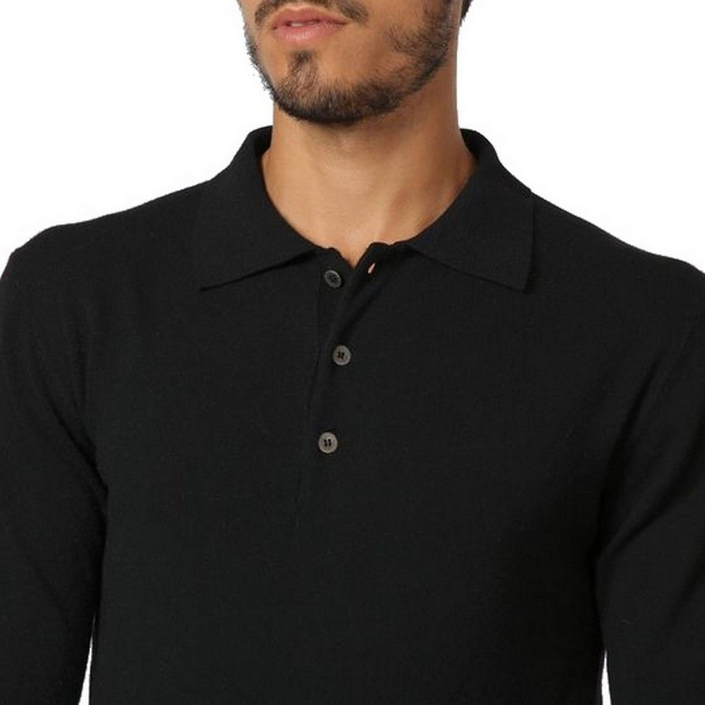 William De Faye Polo Neck Sweater with Buttons in Black