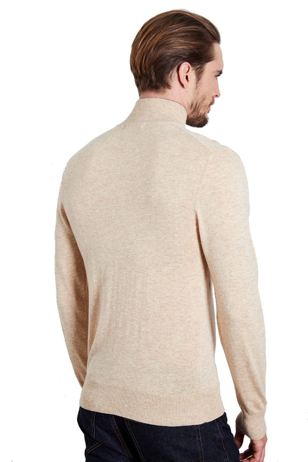 William De Faye High Neck Two-tone Collar Sweater with Buttons in Beige