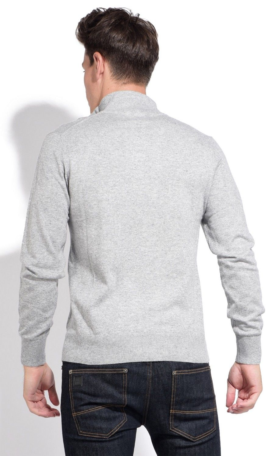 William De Faye High Neck Two-tone Collar Sweater with Buttons in Grey