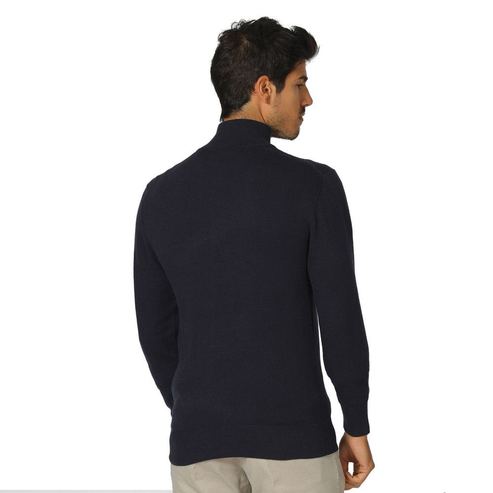 William De Faye High Neck Two-tone Collar Sweater with Buttons in Navy