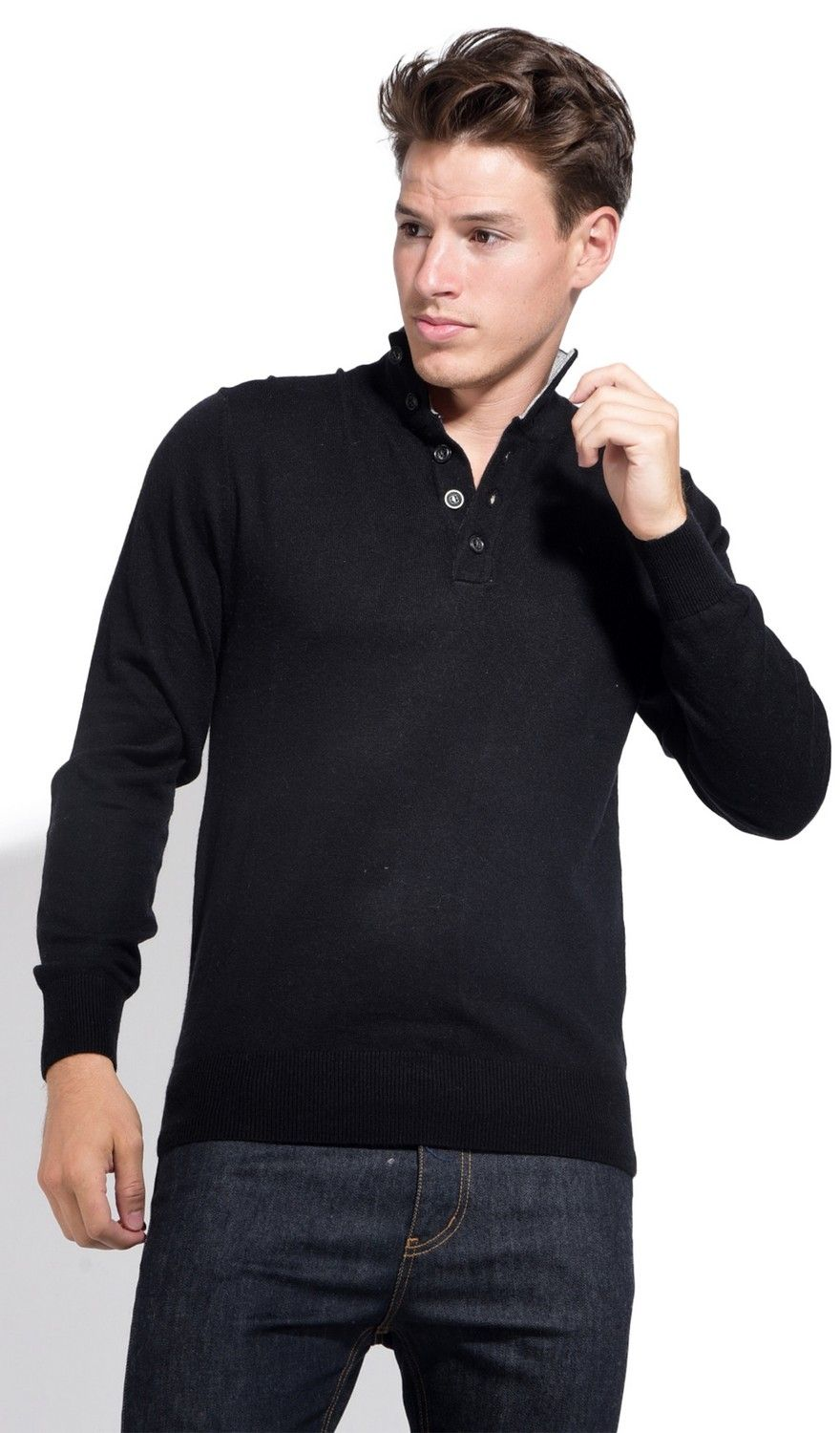 William De Faye High Neck Two-tone Collar Sweater with Buttons in Black