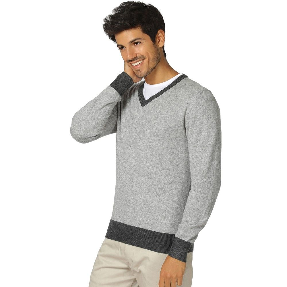 William De Faye V-neck Two-tone Sweater in Grey