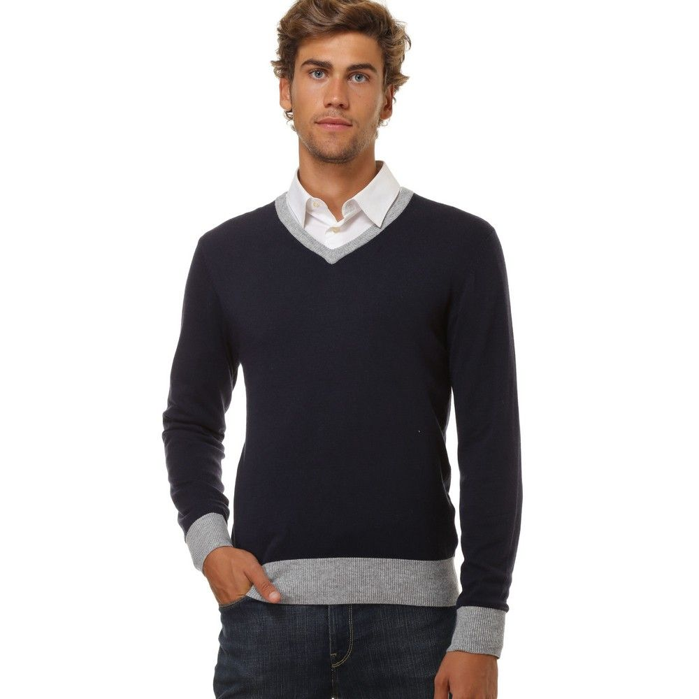 William De Faye V-neck Two-tone Sweater in Navy